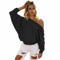 Women's One Shoulder Baggy Chunky Knitted Sweater