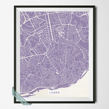 Lisbon Print, Portugal Poster, Lisbon Poster, Portugal Print, Lisbon Map, Lisbon Wall Art, Street Map, Home Decor, Back To School