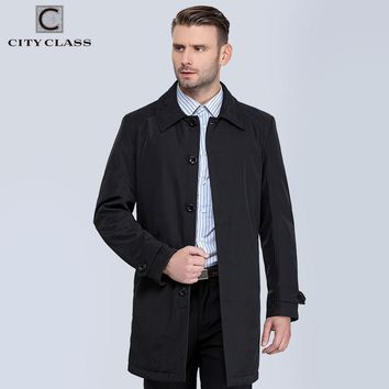CITY CLASS New Mens Coats Fashion Casual Classic Trenchs Fit Turn-down Collar Jackets Coats Free For male 1061-1