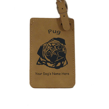 L3760 Pug Head Personalized Luggage Tag