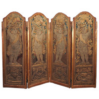 18th Century French Four-Panel Aubusson Folding Screen
