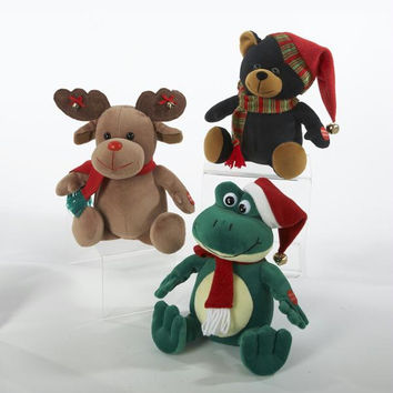 6 Christmas Animals - Stuffed Moose, Bear And Frog