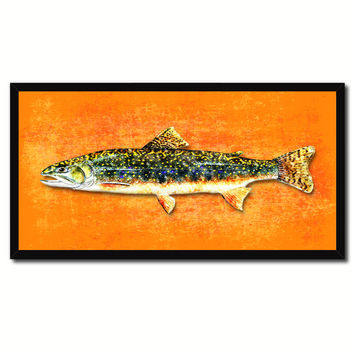 Brook Trout Fish Art Orange Canvas Print Picture Frames Home Decor Nautical Fisherman Gifts