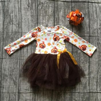 new 2018 Thanksgiving fall/winter dress brown turkey print Yarn skirt milk silk dress kids wear girls boutique clothing with bow