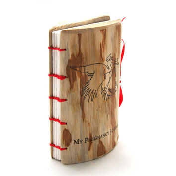 Wood Pregnancy Journal Diary with stork rustic wood book, memory diary