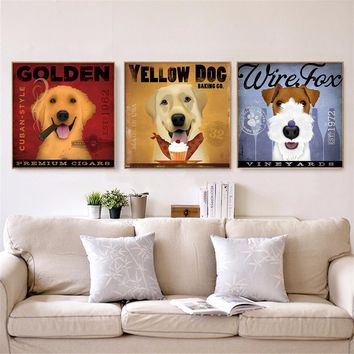 Canvas Painting Wall Art Retro Clever Dog Drink Coffee Borwn Dog Hanging Wall Art Pictures Vintage Posters Funny Pet