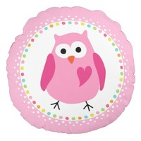 Pink owl with heart and colourful polka dot border round pillow