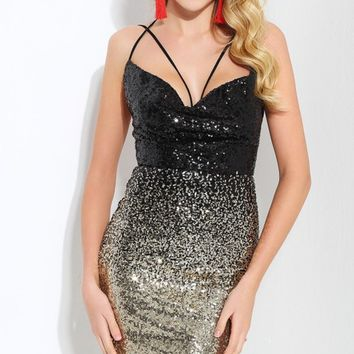 Party Every Night Black Champagne Gradient Sequins Sleeveless Double Spaghetti Straps V Neck Bodycon Mini Dress