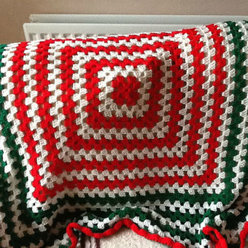 Crocheted Blanket, Crocheted Throw, Red Blanket, Green Blanket, White Blanket, Red Green and White,  Afghan Blanket, Afghan Throw