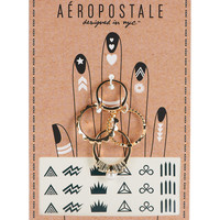 Aeropostale  Ring and Temporary Tattoo Set - Gold,