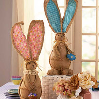 Burlap Bunny Rabbit Giant Ears Pink Blue Country Easter Spring Decor Raffia