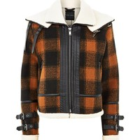 Brown Check Borg Lined Buckle Trim Flight Jacket | New Look