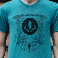 Heathered Teal Cicada and Yarrow Unisex T-Shirt