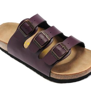 Birkenstock Orlando Sandals Leather Deep Purple - Ready Stock