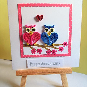 Anniversary card, owls card, love card, happy anniversary, romantic card, handmade card, greetings card, quilled card, blank card, cute card