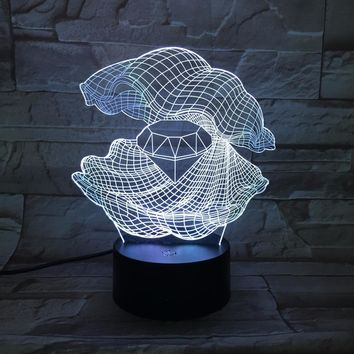Mother Of Pearl Clam 3D LED Night Light Lamp