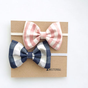 Headband or bow- Gingham Navy or Pink Plaid