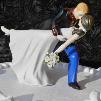 military bride  USMC Marine Corps groom uniform dance dip Wedding Cake Topper