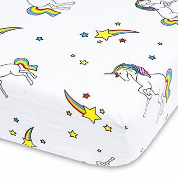 Unicorns, Rainbows and Shooting Stars - Cotton Polyester Fitted Crib Sheet - Soft Nursery Bedding for Boys / Girls - Best Infant / Toddler Bed Sheets for Christmas / Baby Shower Gift by Cuddly Cubs