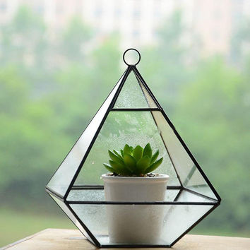 Diamond Pyramid Shape Geometric Crystal Glass Vase Flower Planter, Terrarium Container Pot Home Decor Accessories Fairy Garden Candle Holder