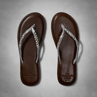 Metallic Leather Flip Flops