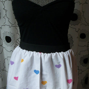 SALE-Colorful Candy Hearts Valentine's Day Pastel Rainbow Multi Color Sweet Hearts High Waisted Minnie Mouse Disney  Skirt