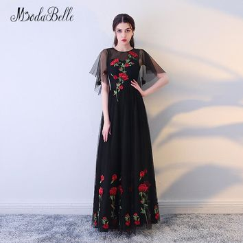 modabelle Red Colored Black Floral Prom Dresses With flowers Tulle Long Party Dress Elegant Evening Gowns 2018 Real Pictures