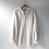 vintage oversized henley sweater. creamy white cotton sweater. henley pullover. size XL
