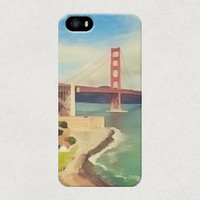 San Francisco Golden Gate Bride Illustration Watercolour Style iPhone 4 4s 5 5s 5c Samsung Galaxy S3 S4 Case