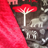Minky Toddler  Blanket   Jungle Animals on Grey  with Watermelon  Minky Dot Back   Toddler Size 40 x 50