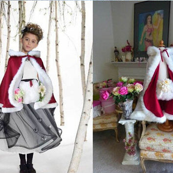 2016 Winter Warm Flower Girl Cloak with Faux Fur Trim Bridal Cape ivory white Wedding bolero Jacket Cheap Wedding Coat
