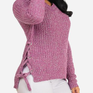 Pink Long Sleeve Lace Up Sides Sweater