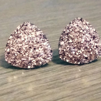 Druzy earrings-  Triangle iridescent rose gold druzy earrings