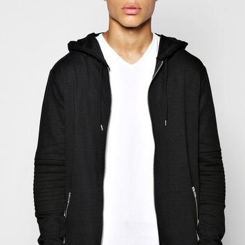 Longline Biker Hoody With Fishtail Hem