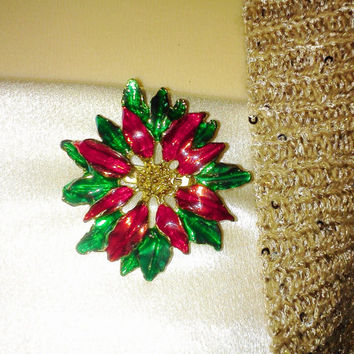 Vintage Poinsettia Christmas Flower Brooch Pin Goldtone Enamel Painted Costume Jewelry from Estate Excellent Condition Holiday Jewelry