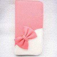 Wallet Bowknot Bow Girl Cute lovely Flip Pouch Cover Card Holder PU Leather Skin Case Cover for LG Optimus L9 P769 T-mobile pink