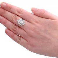2.92 ct Diamond and Platinum Cluster Ring - Vintage French Circa 1940