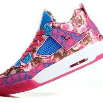 Hot Air Jordans 4 Retro Women Shoes Limited Edition Pink Rose