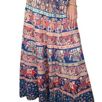 Womens Long Skirt Blue Elephant Printed Indi Designer Hippie Boho Maxi Skirts: Amazon.com: Clothing