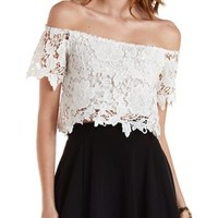 White Off-the-Shoulder Crochet Crop Top by Charlotte Russe