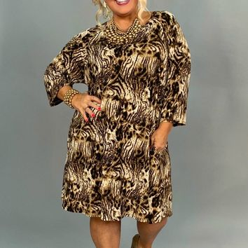 PQ-J {Extended Plus} Animal Print Dress with Keyhole Detail