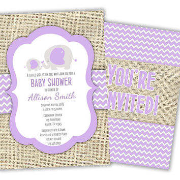 Lavender Purple Elephant Baby Shower Invitations - Girl Baby Shower Invite - Baby Elephant - purple elephants - purple chevron - burlap