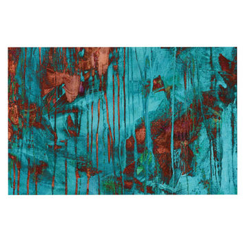 "Iris Lehnhardt ""Rusty Teal"" Paint Teal Decorative Door Mat"