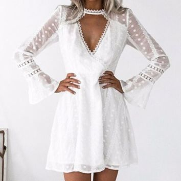 Women's temperament deep V lace wave point horn sleeve dress
