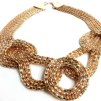 """Jumping Through Loops"" Gold Statement Necklace"