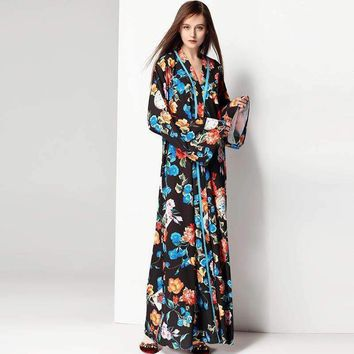 Women Dresses long Floral Plus Size Robe Prom Evening Party Club Womens Maxi Runway Dress