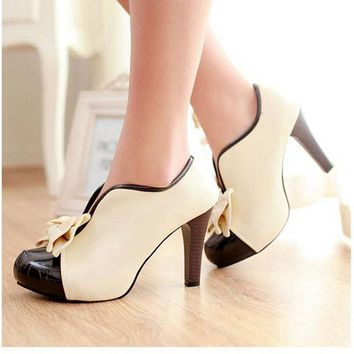 New Women Pumps  High Heels Shoes  Bowtie Vintage Style