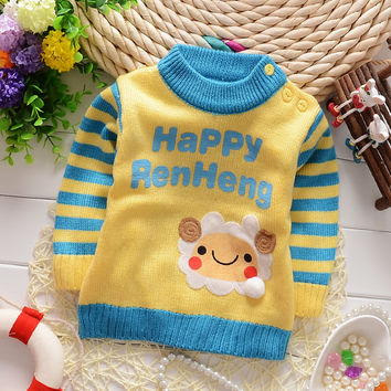 On Sale 2016 New Autumn-Winter Korean baby boys sweater with sheep letter print fashion infant clothes A056