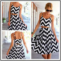 Striped Spaghetti Strap Crop Top Pleated Knee-length Skirt Dress Suit