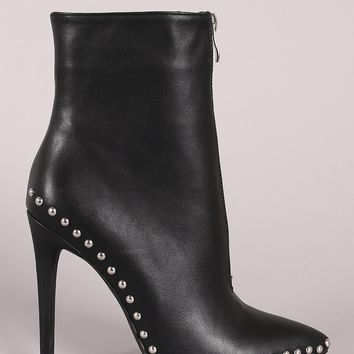 Wild Diva Lounge Leather Studded Pointy Toe Stiletto Booties